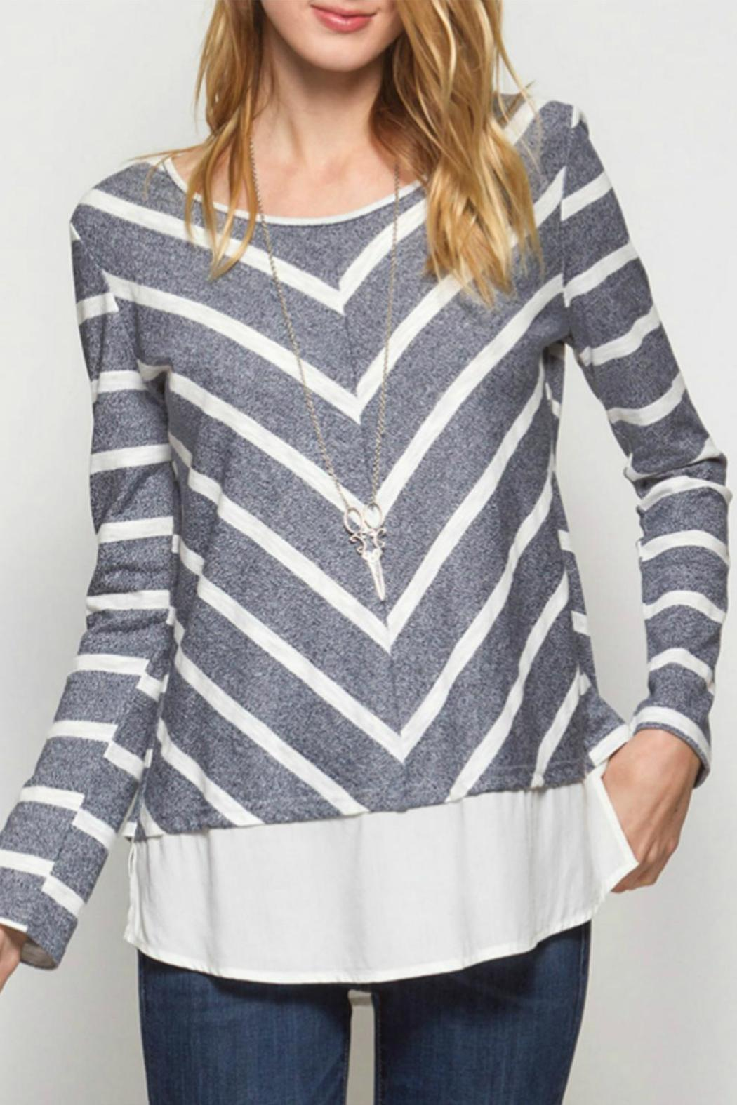 She + Sky Chevron Top - Front Full Image