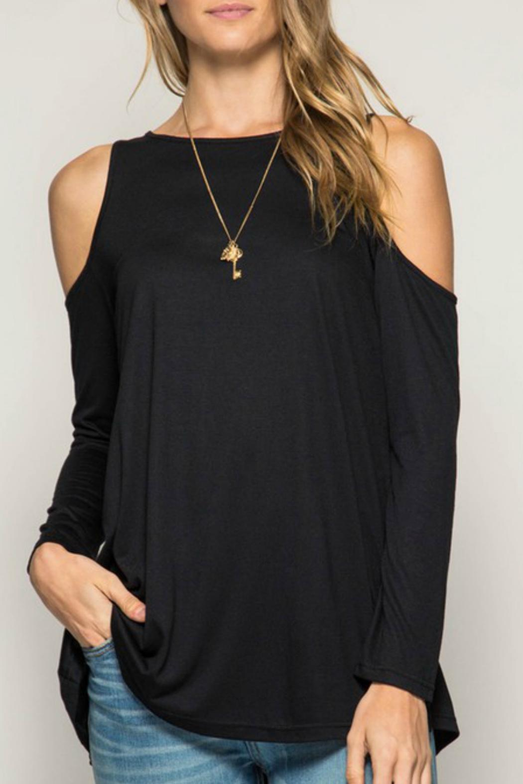 She + Sky Cold Shoulder Basic Tunic - Front Cropped Image
