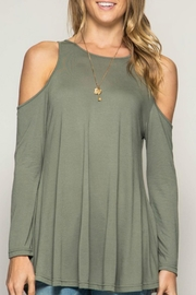 She + Sky Cold Shoulder Basic Tunic - Front cropped