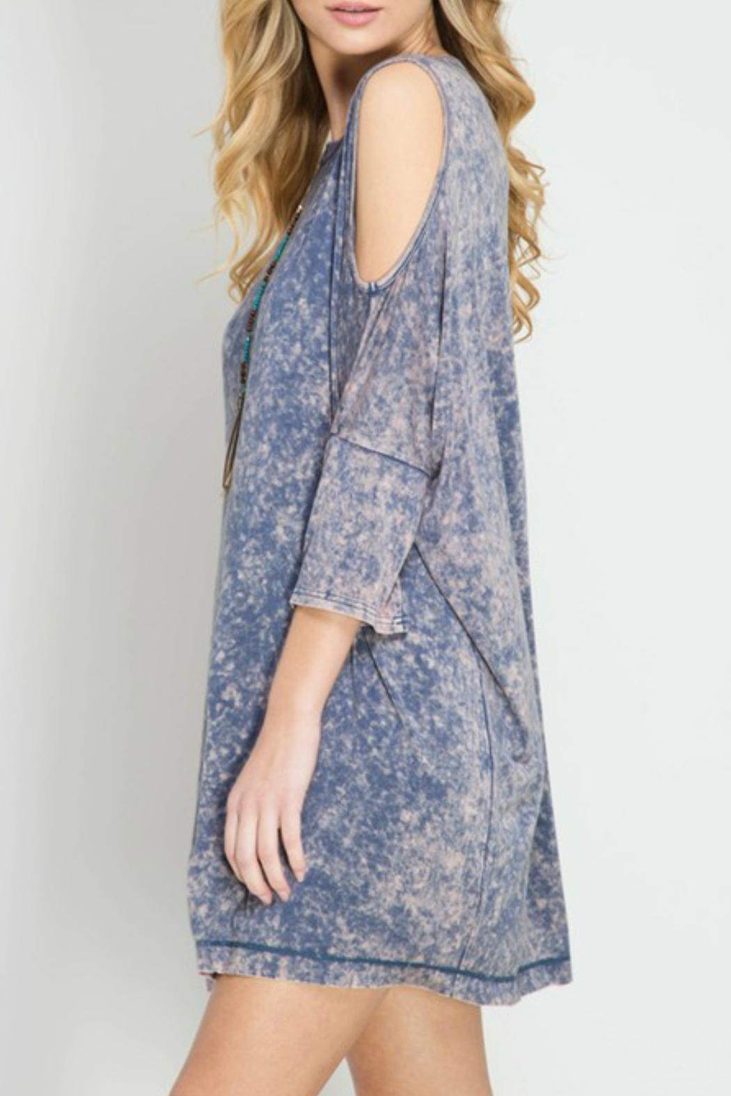 She + Sky Cold Shoulder Dress - Side Cropped Image