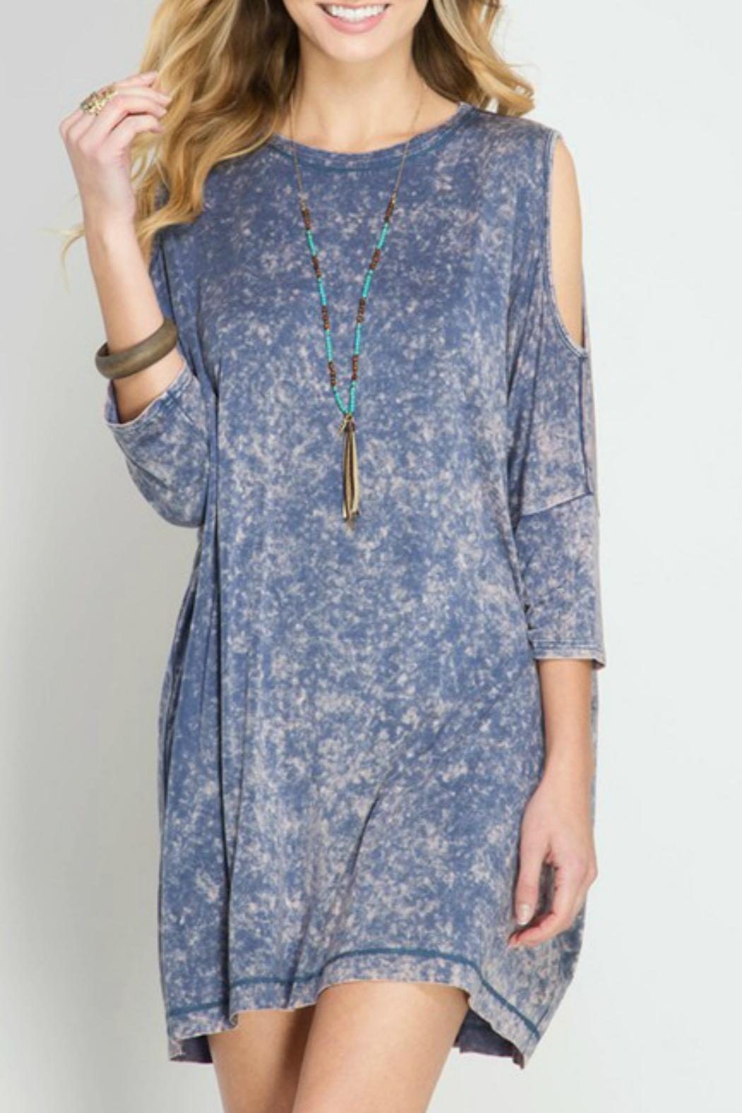 She + Sky Cold Shoulder Dress - Front Cropped Image