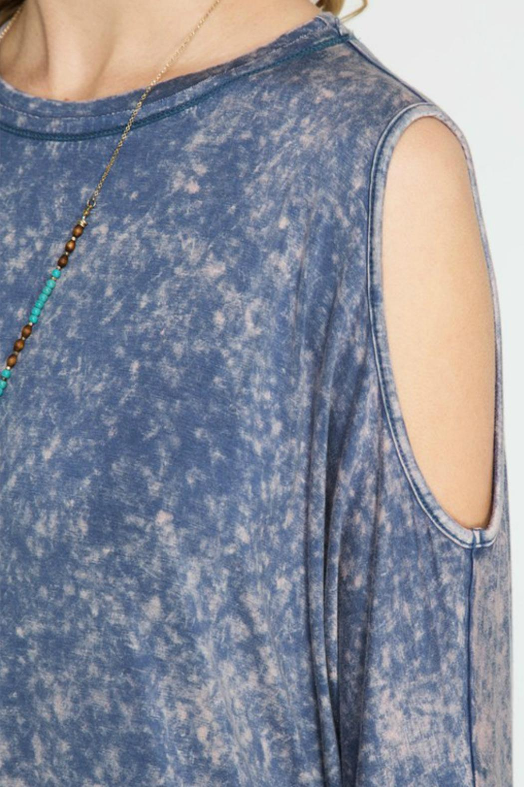 She + Sky Cold Shoulder Dress - Back Cropped Image