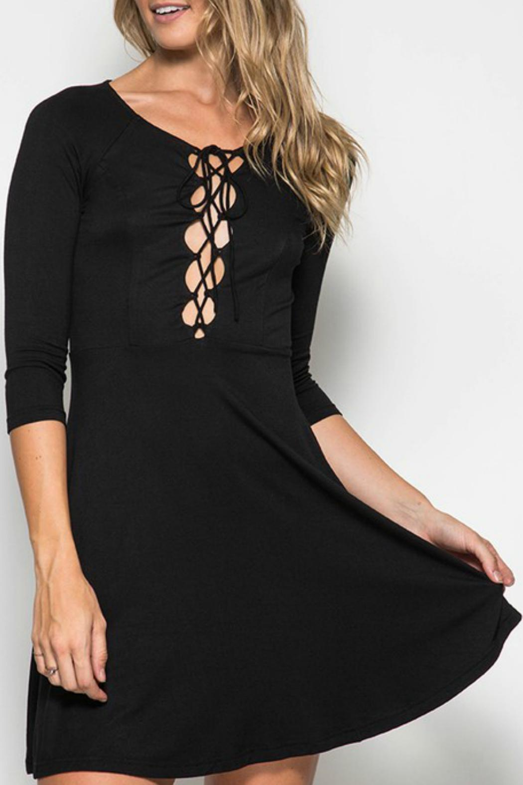 She + Sky Lace Up Front Dress - Front Cropped Image
