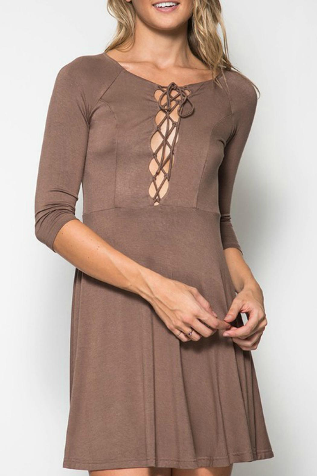 She + Sky Lace Up Front Dress - Main Image