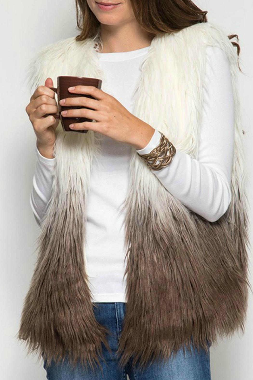She + Sky Ombre Fur Vest - Front Cropped Image