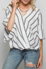 She + Sky Striped V-Neck Blouse - Product Mini Image