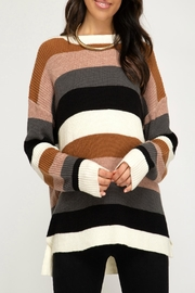She and Sky Color-Blocked Pullover Sweater - Product Mini Image