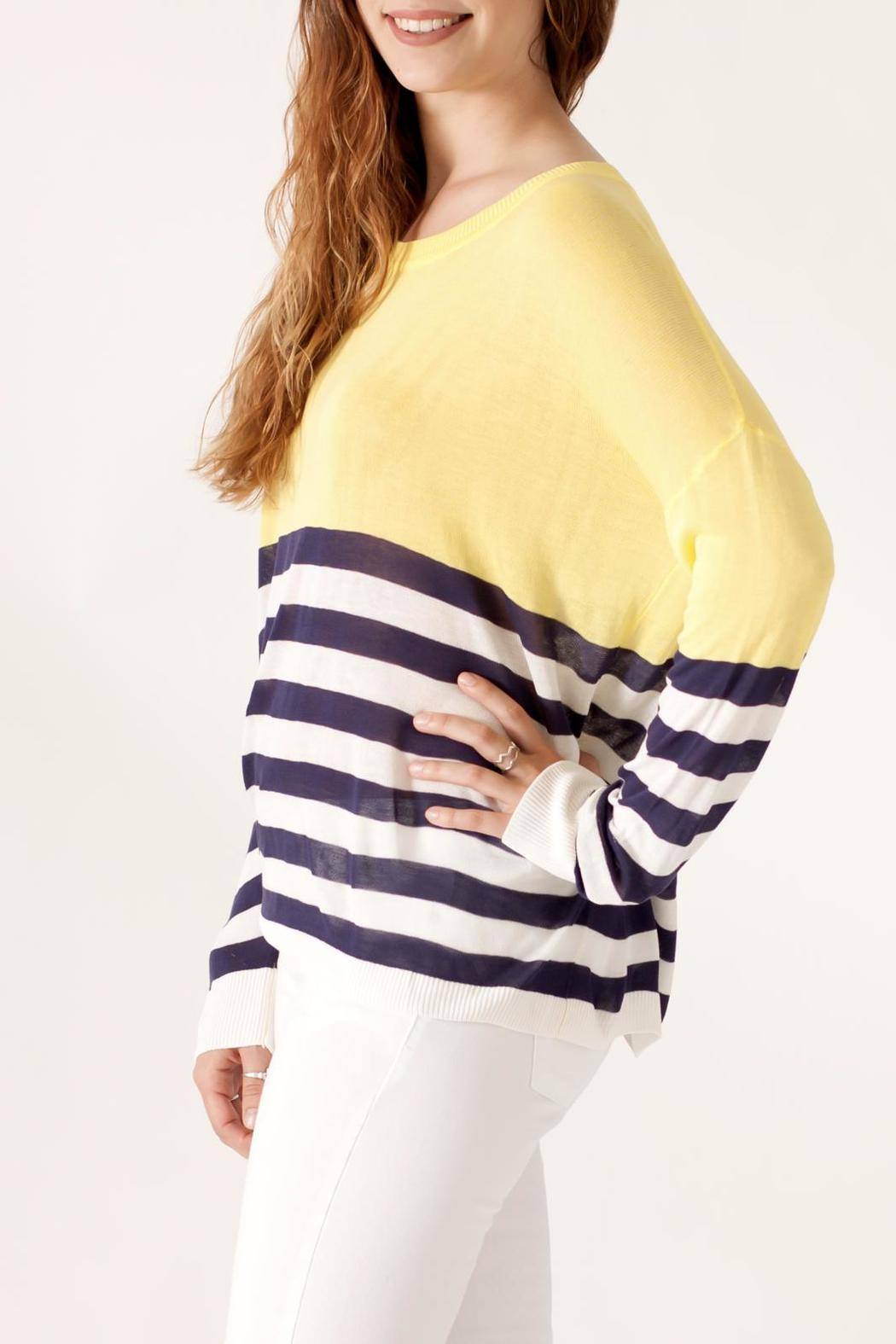 She + Sky Contrast Stripe Sweater - Side Cropped Image