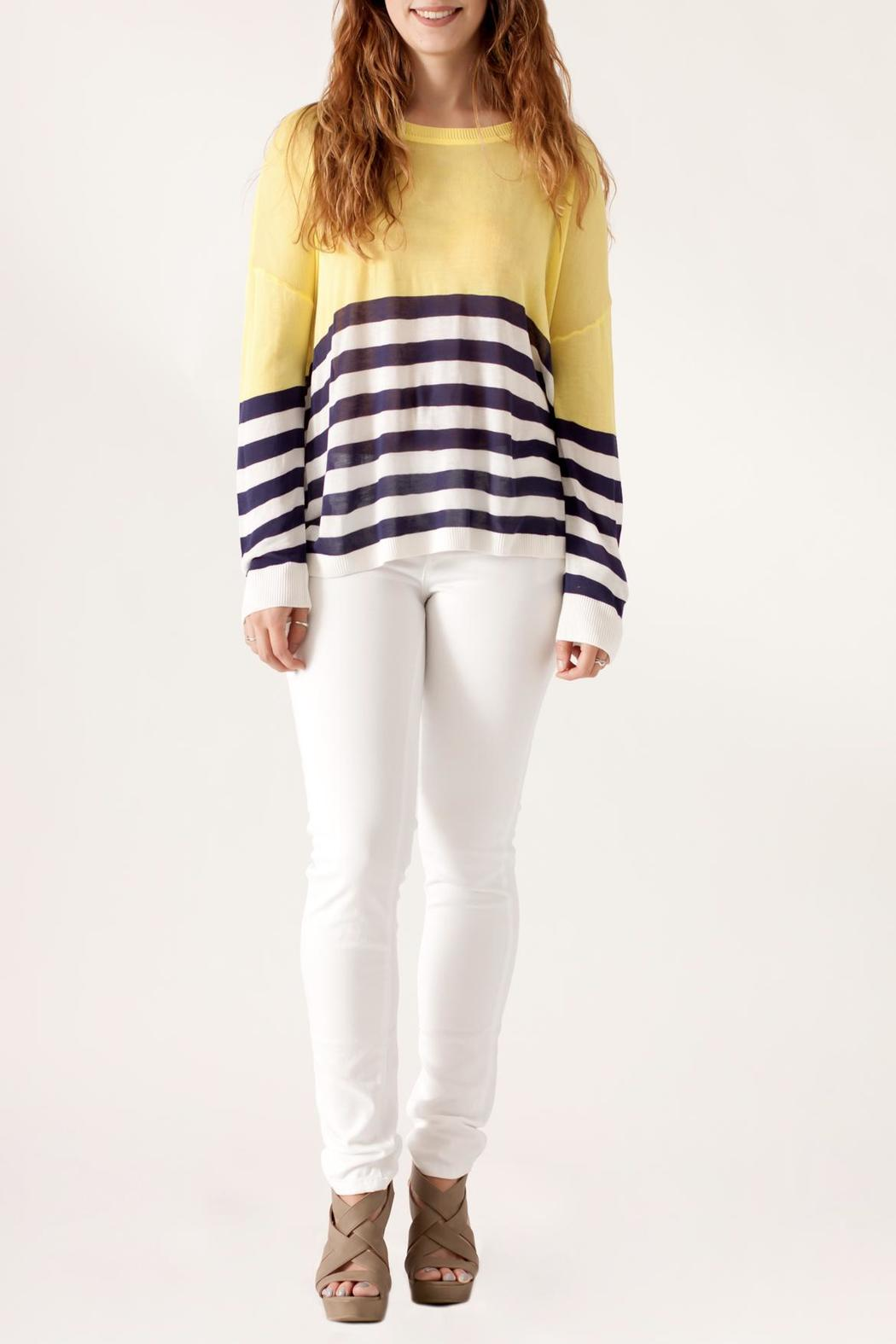 She + Sky Contrast Stripe Sweater - Front Full Image