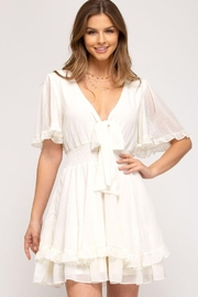 She and Sky Front Tie Crinkled Woven Dress - Front cropped