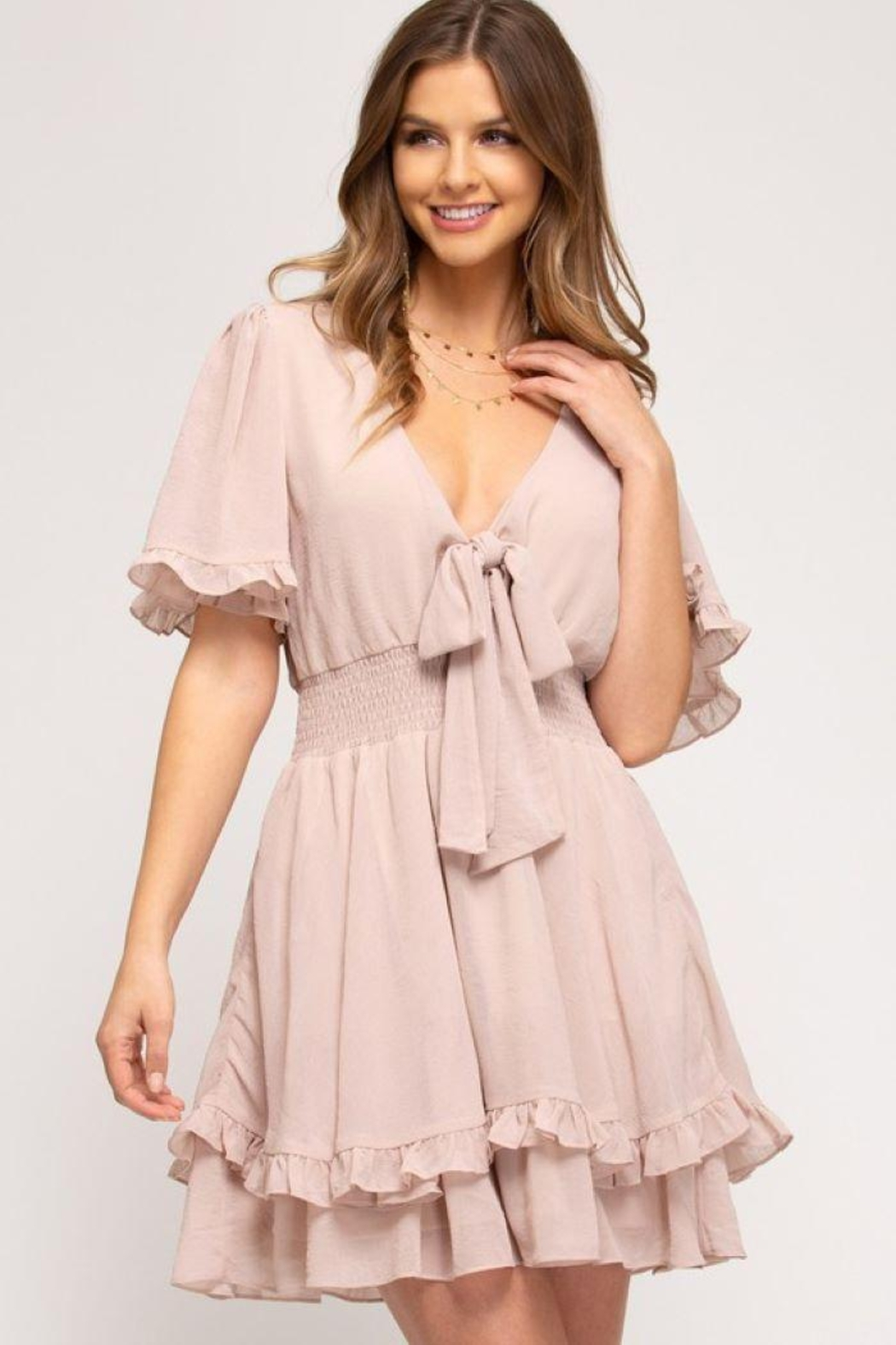 She and Sky Front Tie Crinkled Woven Dress - Main Image