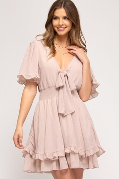Shoptiques Product: Front Tie Crinkled Woven Dress