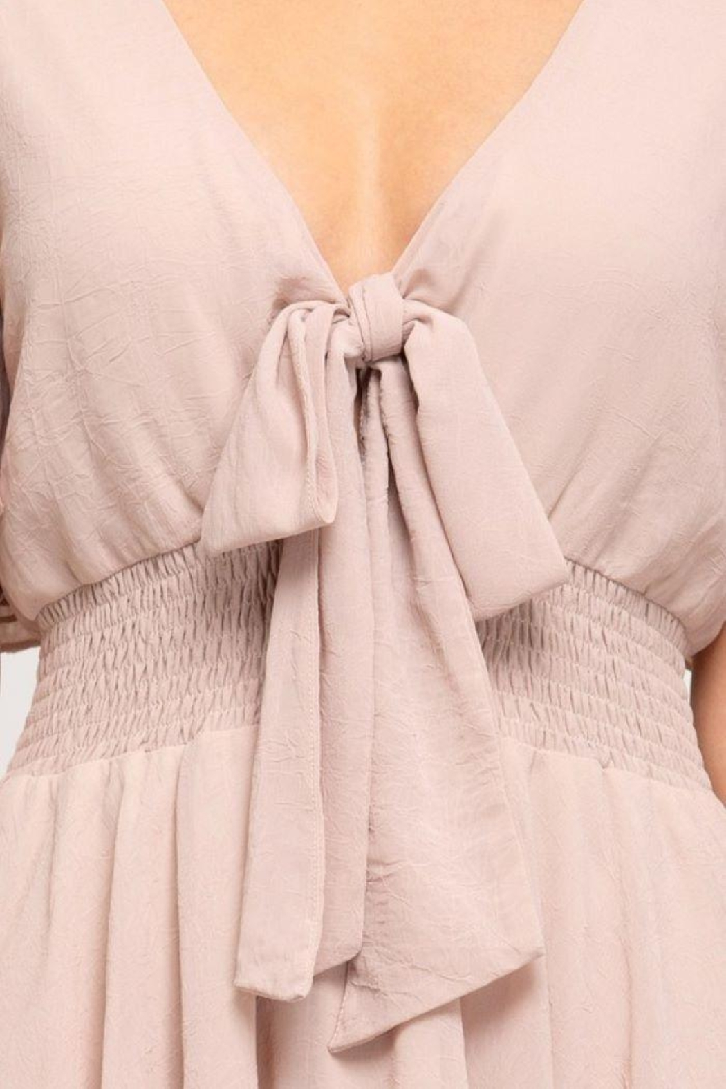 She and Sky Front Tie Crinkled Woven Dress - Side Cropped Image
