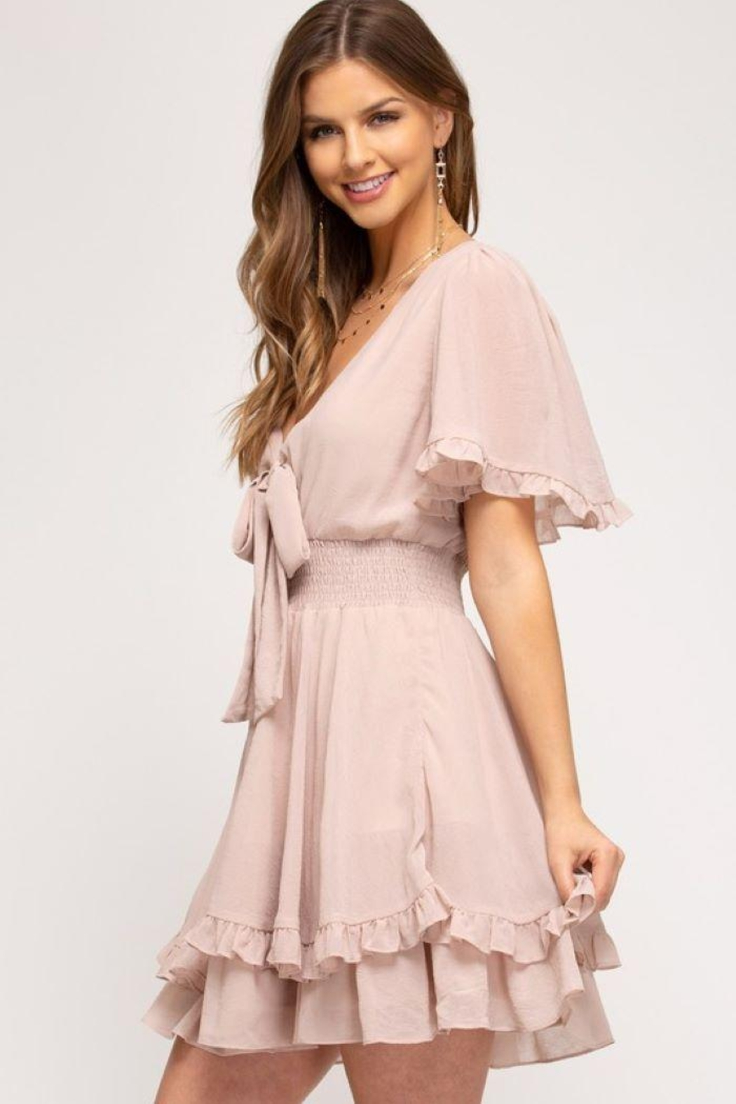 She and Sky Front Tie Crinkled Woven Dress - Front Cropped Image