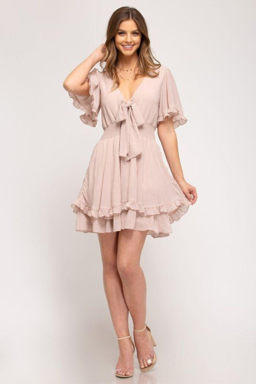 She and Sky Front Tie Crinkled Woven Dress - Back Cropped Image