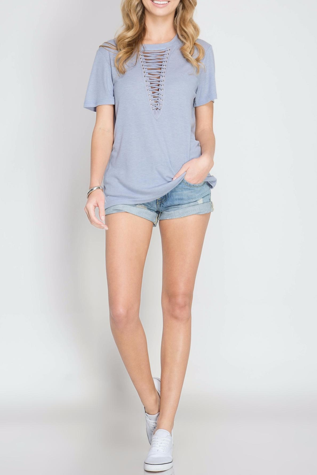 She + Sky Lace Up Periwinkle Top - Main Image