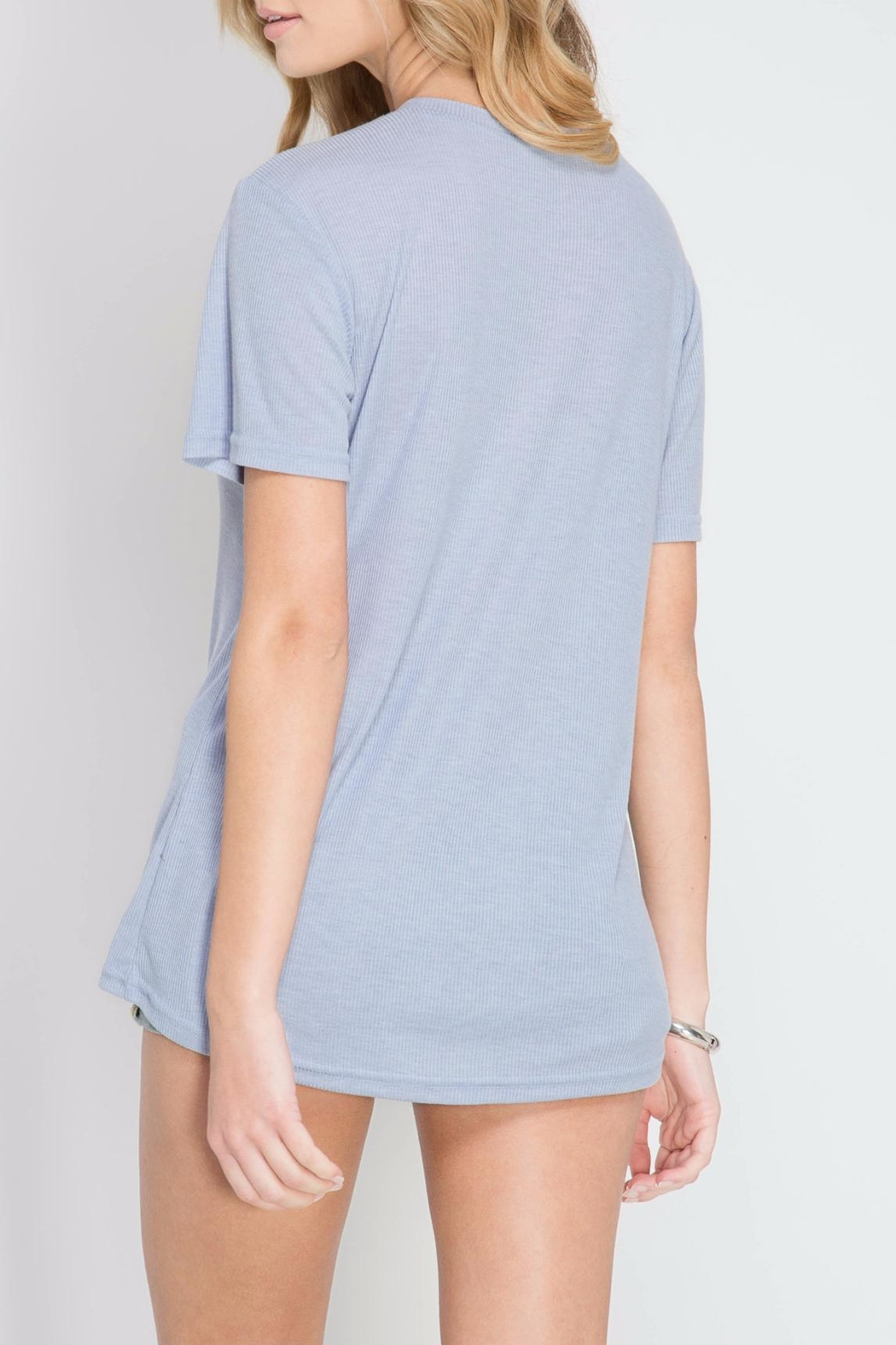 She + Sky Lace Up Periwinkle Top - Side Cropped Image
