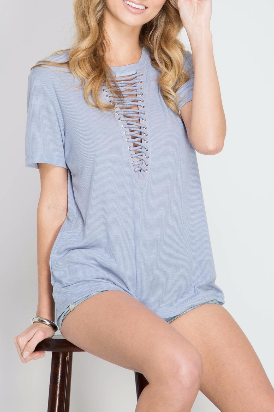 She + Sky Lace Up Periwinkle Top - Front Full Image