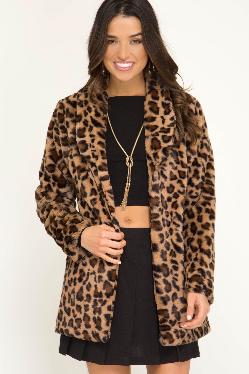 She and Sky Long Sleeve Leopard Fur Jacket - Front Full Image