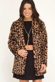 She and Sky Long Sleeve Leopard Fur Jacket - Front full body