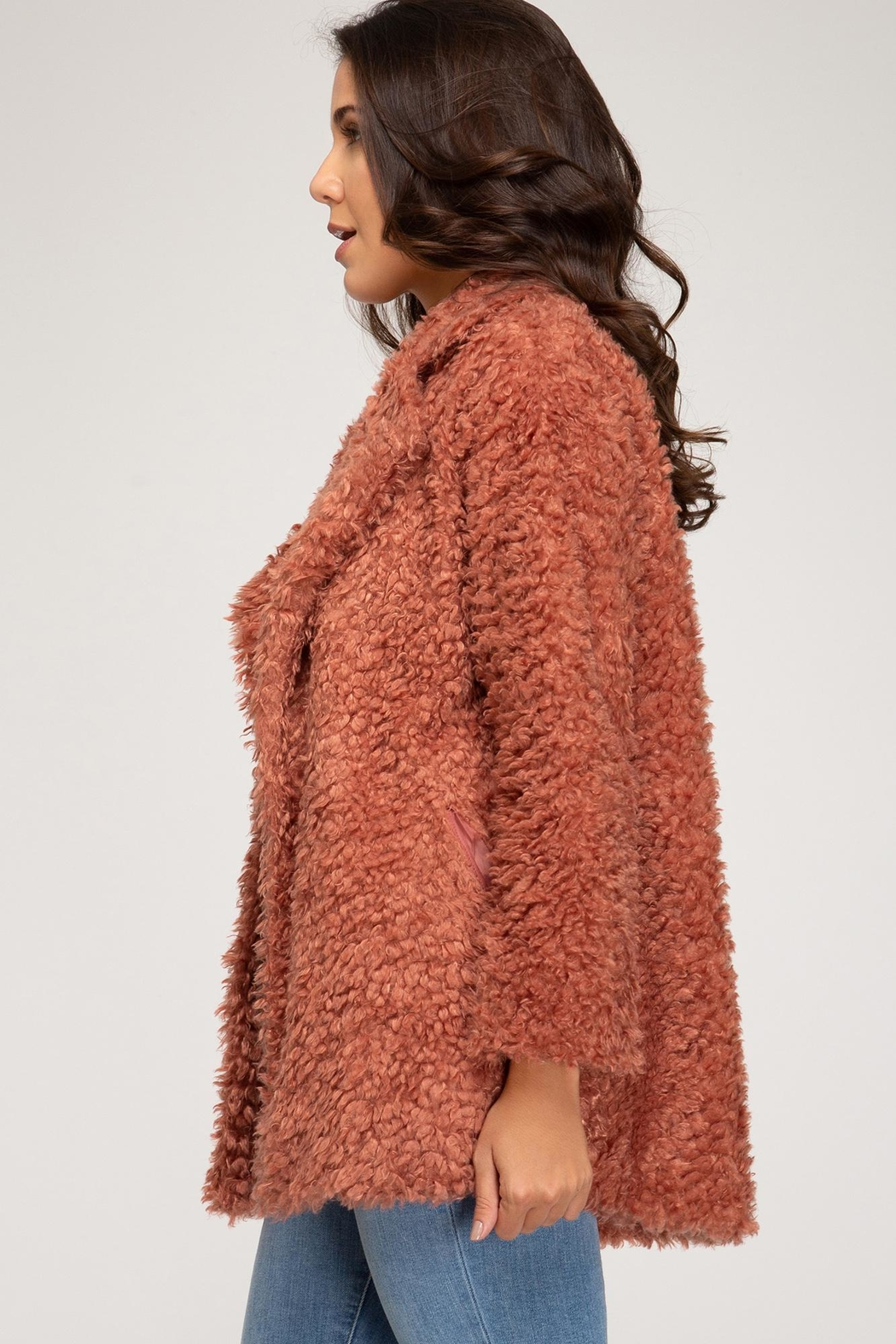 She and Sky Long Sleeve Teddy Bear Jacket - Front Cropped Image