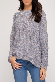 She and Sky Mixed-Yarn Pullover Sweater - Product Mini Image