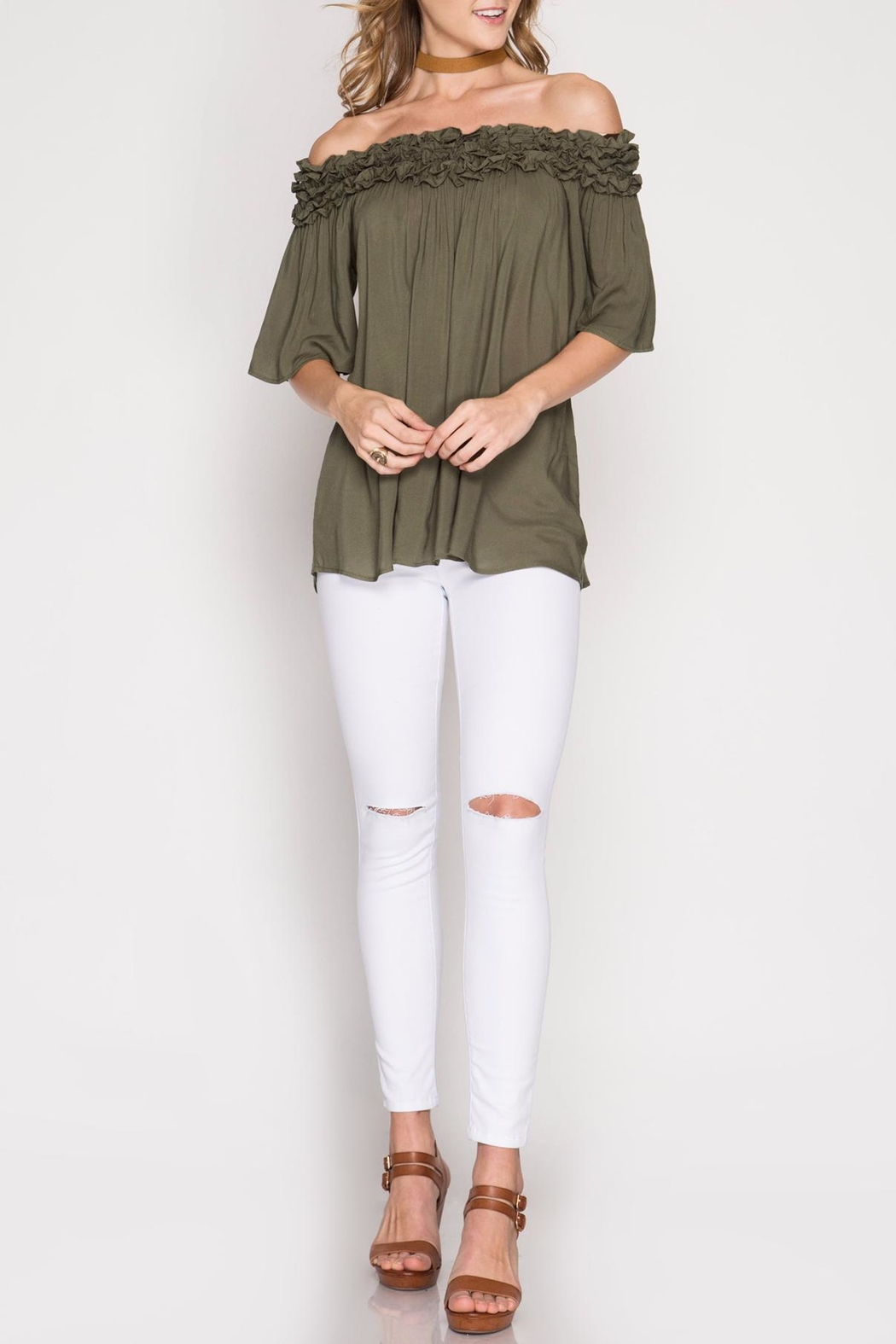 She + Sky Olive Off-The-Shoulder Top - Main Image