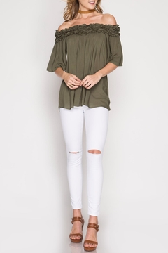 She + Sky Olive Off-The-Shoulder Top - Product List Image
