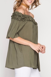 She + Sky Olive Off-The-Shoulder Top - Front full body