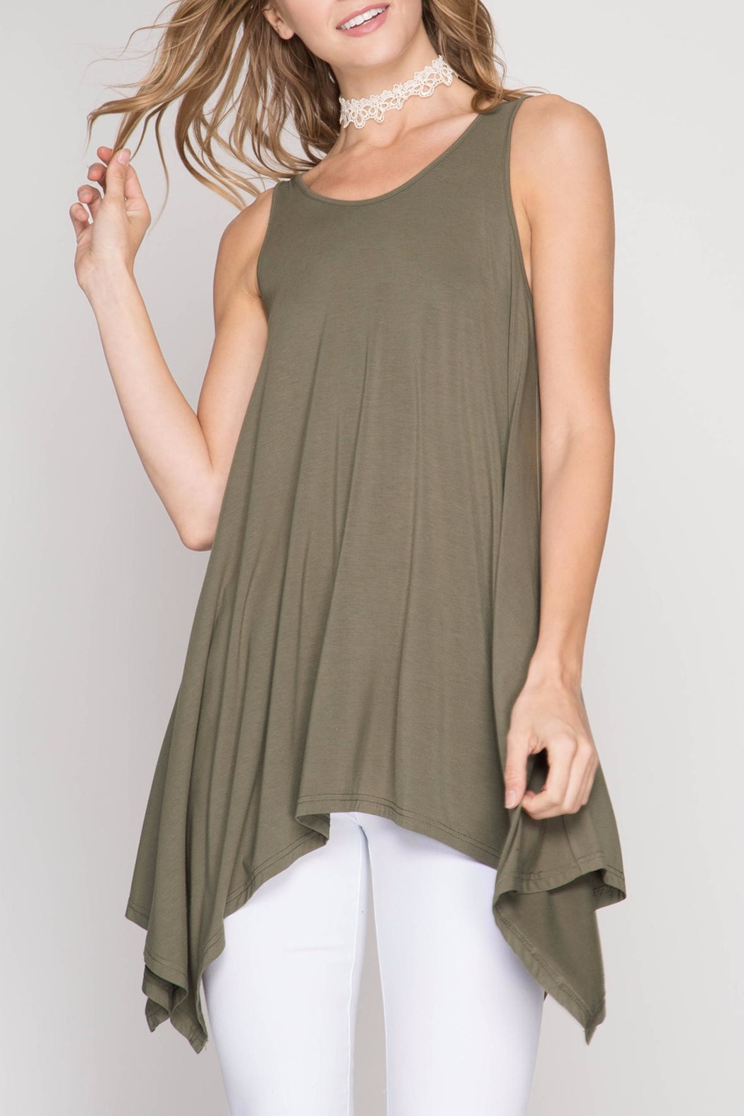 She + Sky Olive Tunic Top - Side Cropped Image