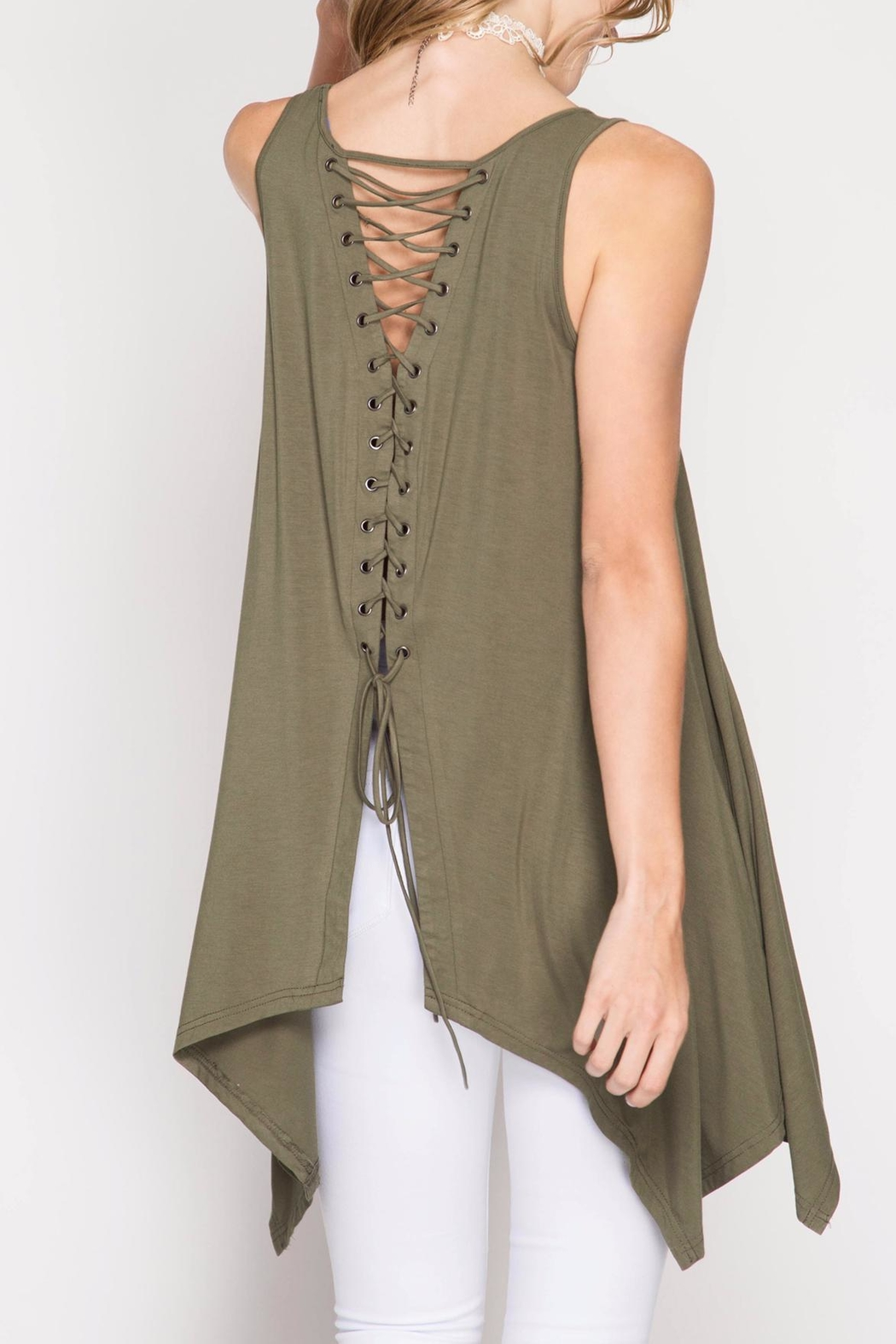 She + Sky Olive Tunic Top - Front Cropped Image