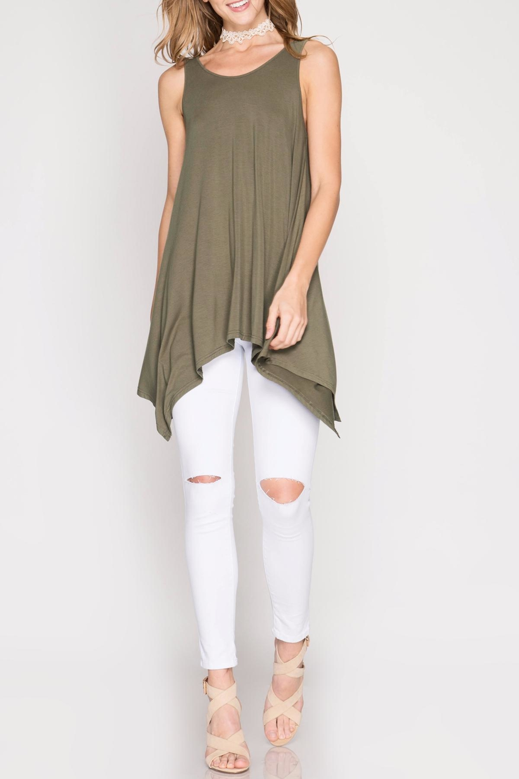 She + Sky Olive Tunic Top - Front Full Image