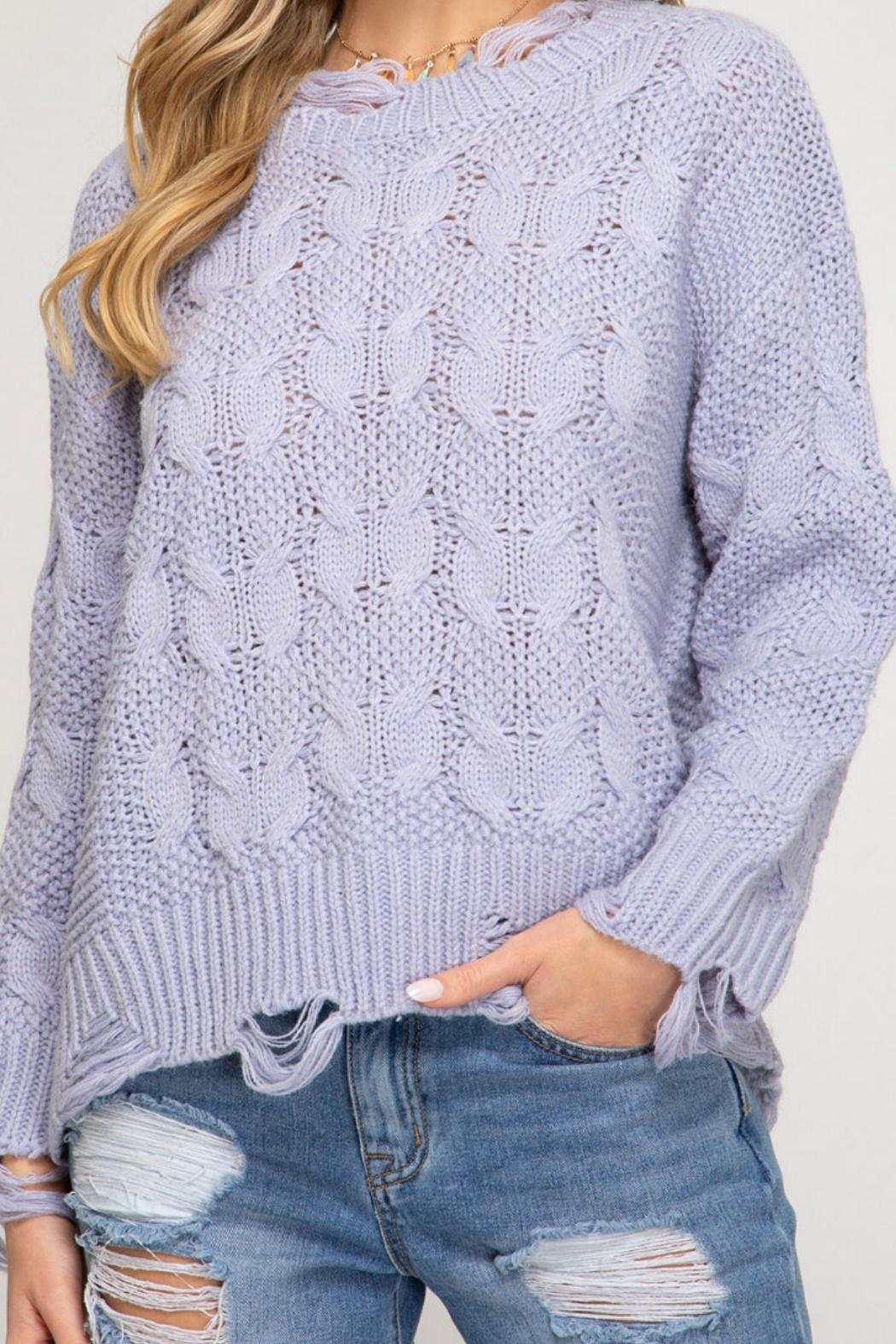 She and Sky Shredded Fisherman Sweater - Front Full Image
