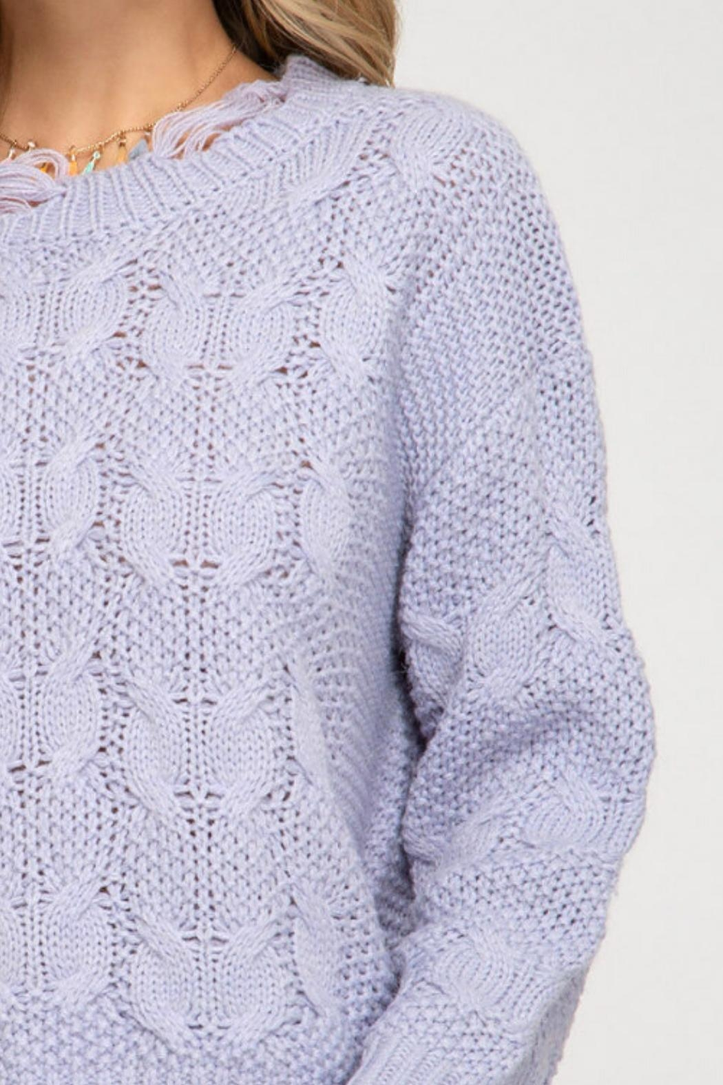She and Sky Shredded Fisherman Sweater - Side Cropped Image