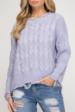 She and Sky Shredded Fisherman Sweater - Product List Image
