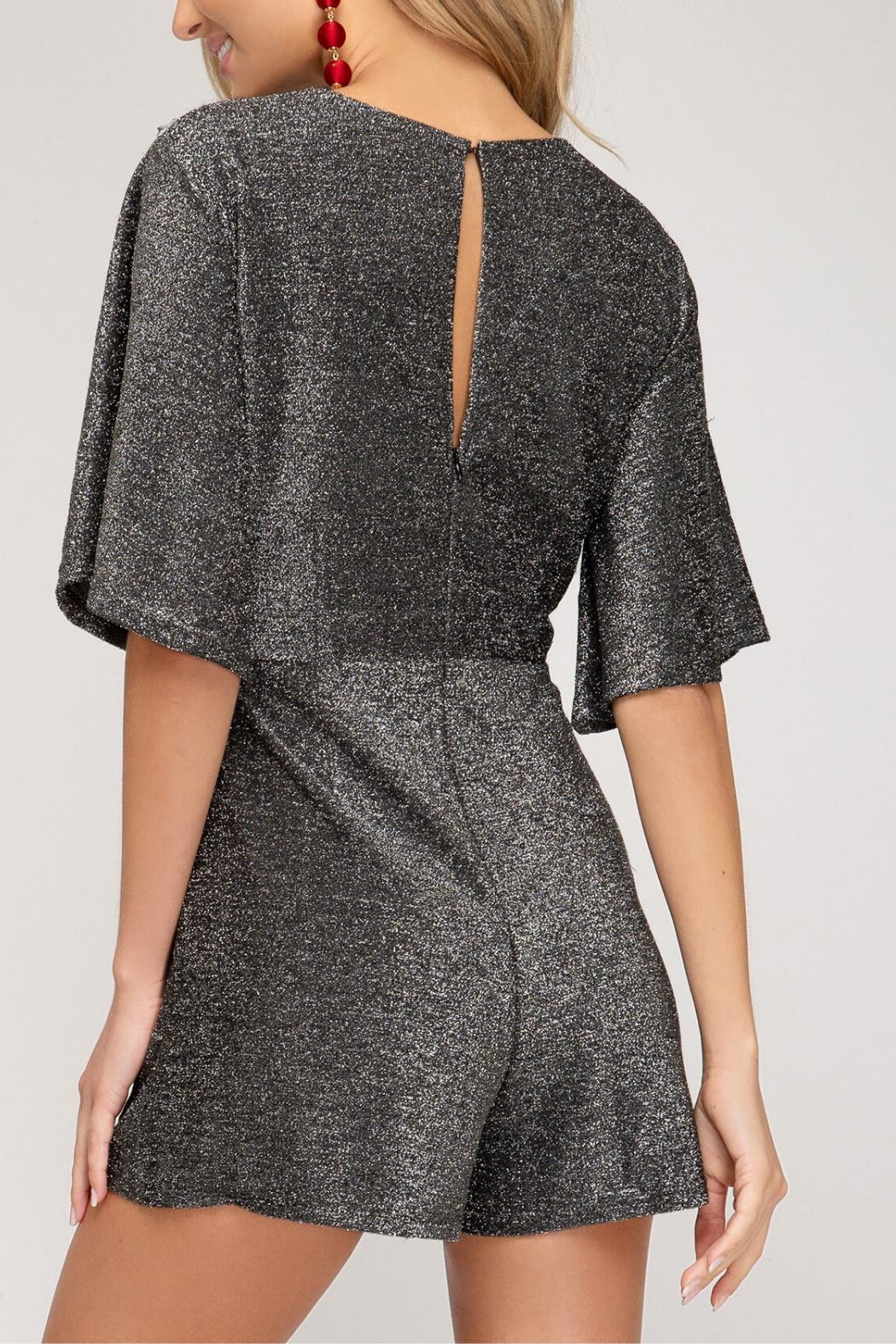 She and Sky Sparkly Romper - Side Cropped Image