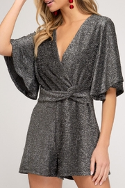 She and Sky Sparkly Romper - Front cropped