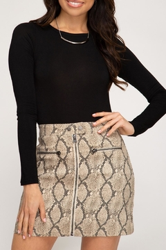 She and Sky Zip-Front Snake Skirt - Product List Image