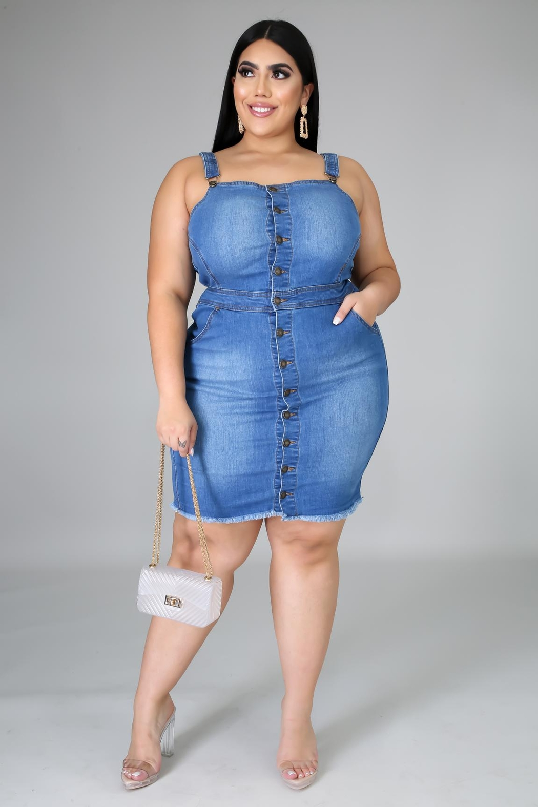 SHE Boutique Dailey Denim Dress - Side Cropped Image
