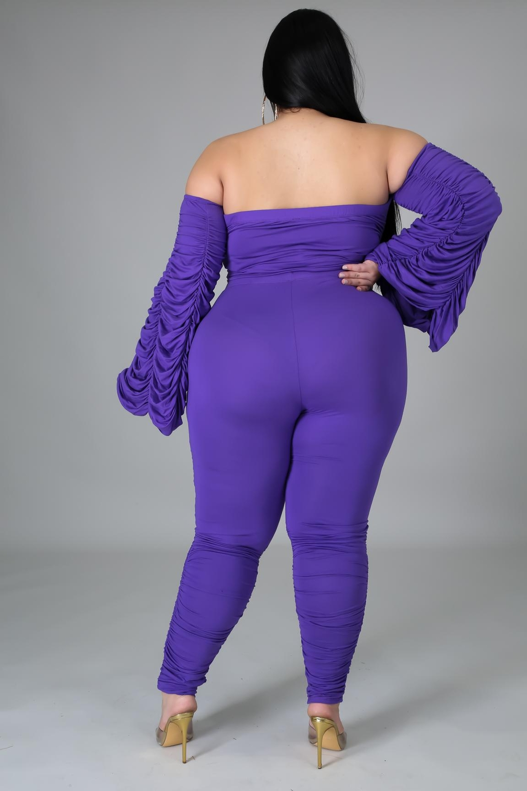 SHE Boutique No Need To Ruche Pant Set - Back Cropped Image