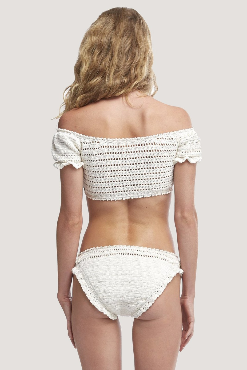 She Made Me Inkia Crochet Off The ShoulderTop - Side Cropped Image