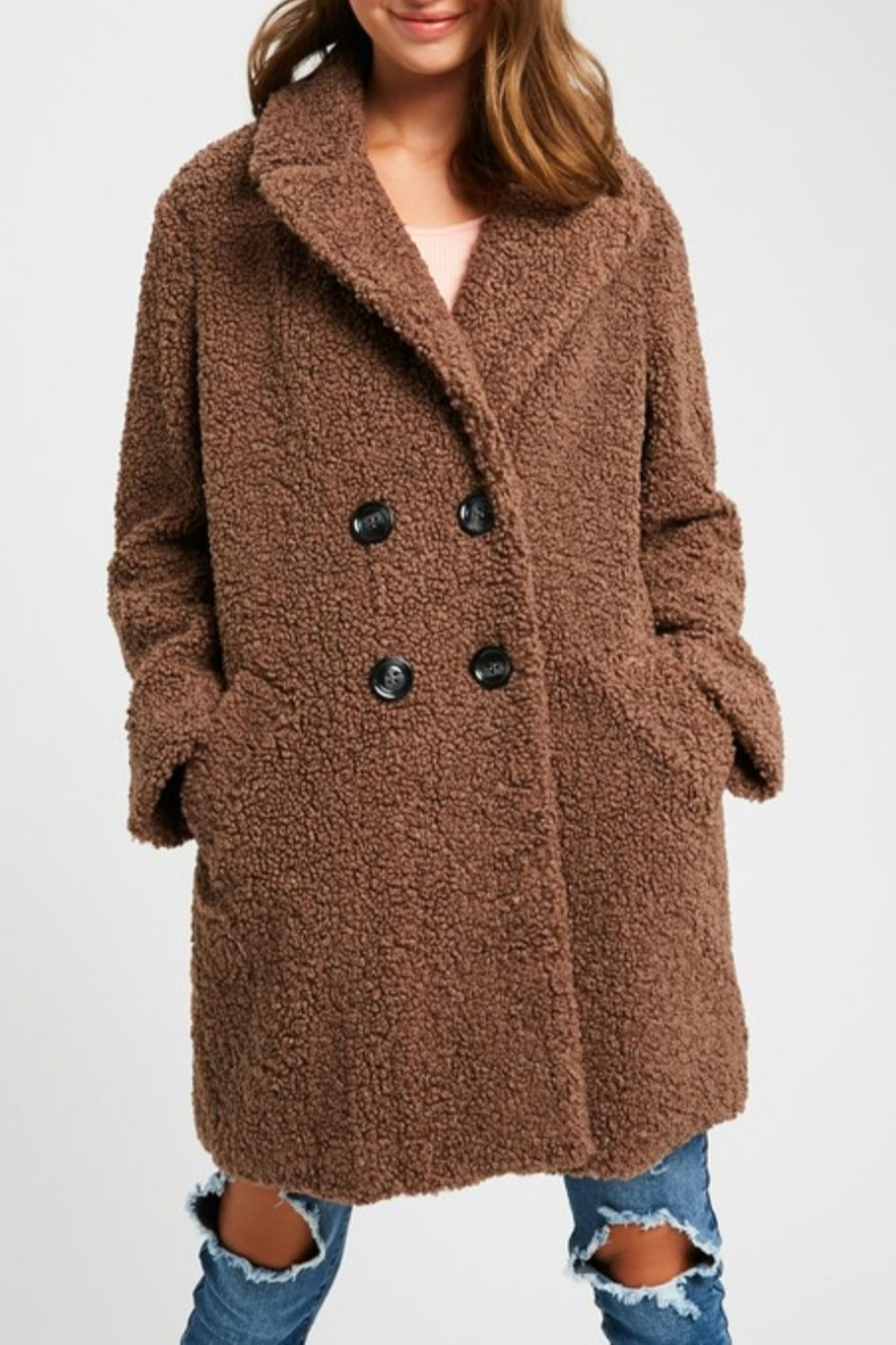 Listicle Shearling Button Down Coat - Front Cropped Image