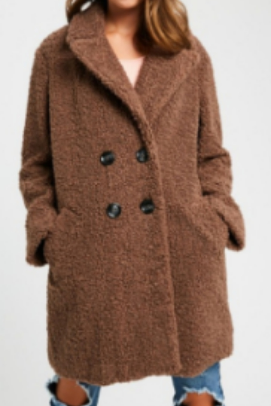 Listicle Shearling Button Down Coat - Front Full Image