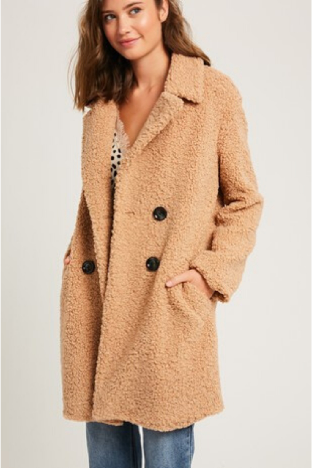 Listicle Shearling Button Down Coat - Main Image