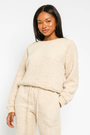 Olivaceous  Shearling Crew Neck Pullover - Product Mini Image