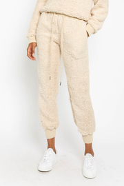 Olivaceous  Shearling DrawstringJoggers - Product Mini Image