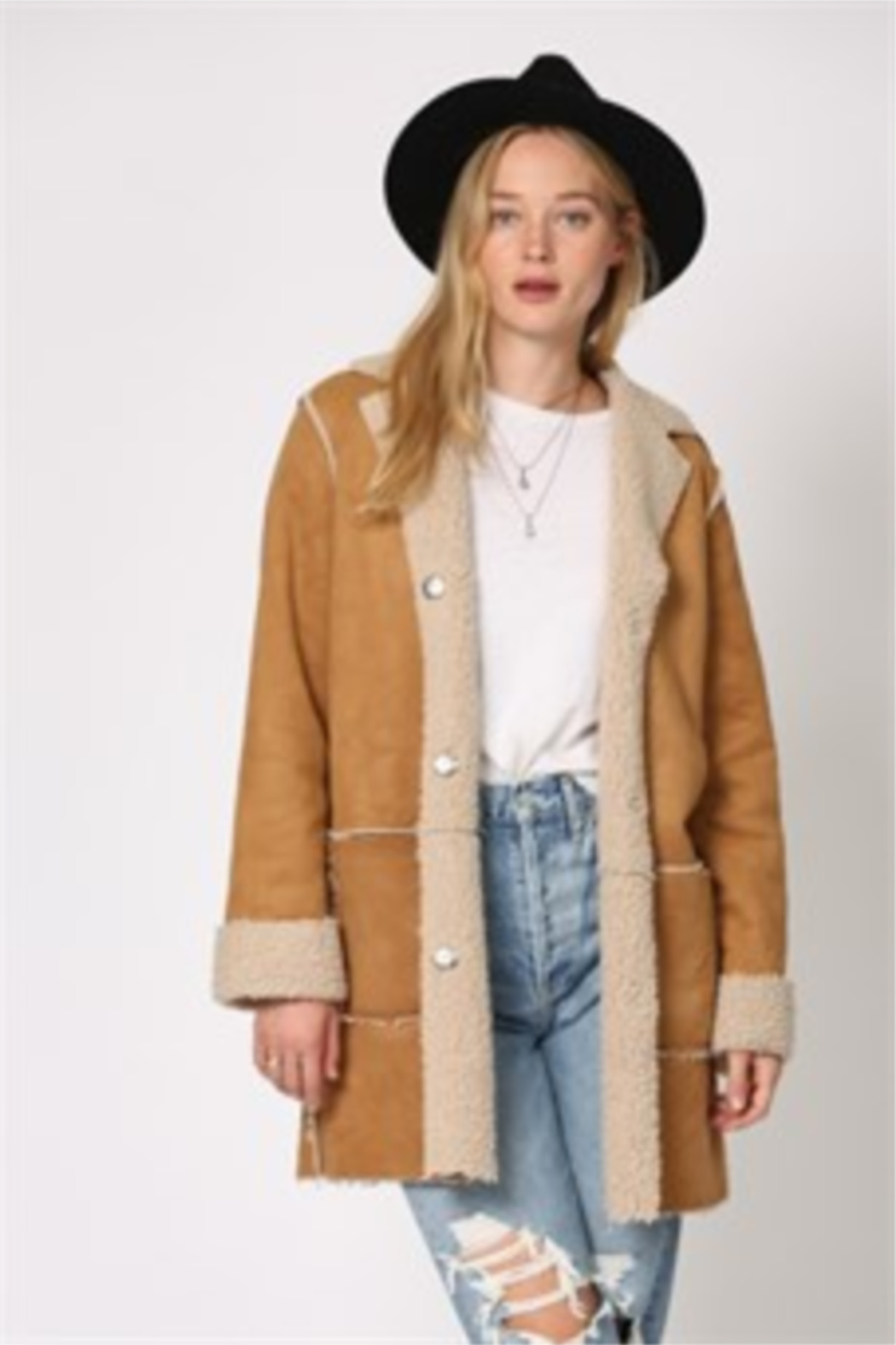 By Together  Shearling Jacket with front pockets - Back Cropped Image