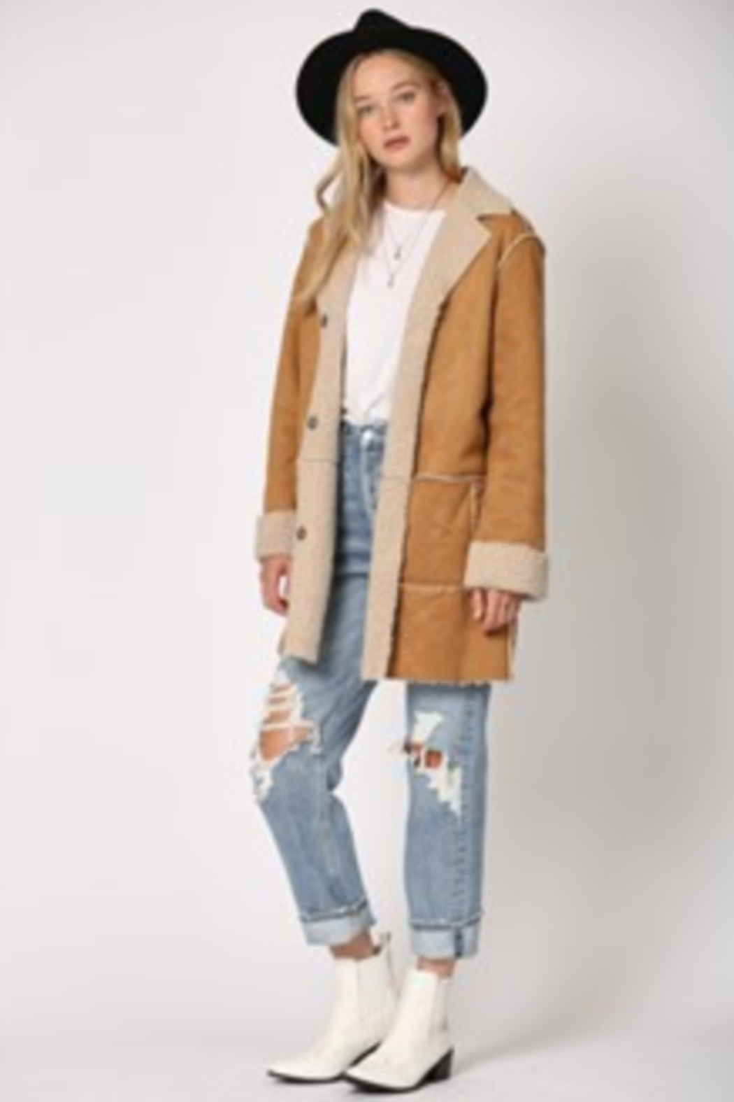 By Together  Shearling Jacket with front pockets - Main Image