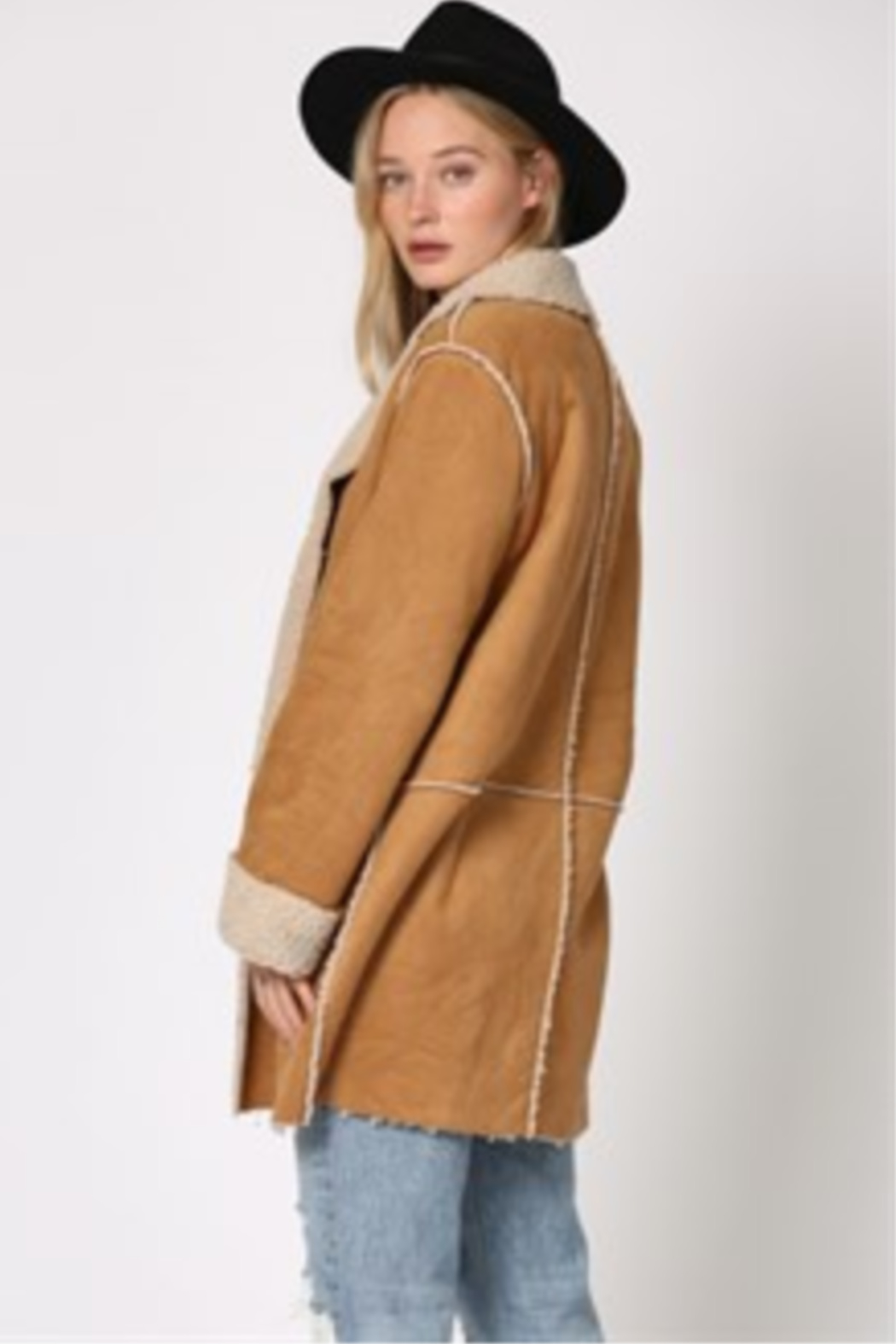By Together  Shearling Jacket with front pockets - Front Full Image