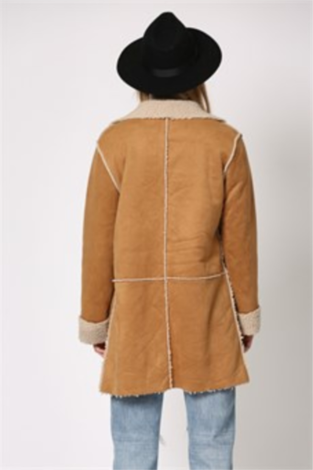 By Together  Shearling Jacket with front pockets - Side Cropped Image